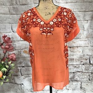 Sundance Silk Embroidered Boho Coral Blouse